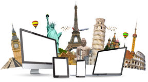 Famous monuments of the world and tech devices on white background stock illustration