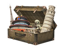 Famous monuments of the world in vintage suitcase Royalty Free Stock Image