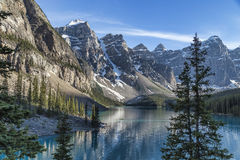 Famous Moraine Lake. One of the many iconic views of Moraine Lake in Banff Royalty Free Stock Photo