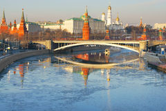 Famous Moscow Kremlin and Moscow river Royalty Free Stock Image