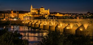 The Mosque Cathedral in Cordoba by Night royalty free stock image
