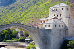 Famous Mostar Bridge. The famous Mostar bridge in Bosnia was used to separate the Muslims from the Christians after the Yugoslavia war Royalty Free Stock Photo