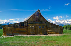 The Famous Moulton Barn in Grand Teton National Park. With the mountains behind Stock Photo