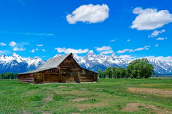 The Famous Moulton Barn in Grand Teton National Park. With the mountains behind Stock Photography