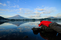 The famous Mount Fuji at Lake Kawaguchi. Morning glow royalty free stock image