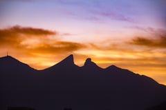 Famous mountain in Monterrey Mexico. Famous Cerro de la Silla mountain in Monterrey Nuevo Leon Mexico stock photography