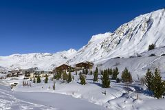 Famous Mountains And Tignes Destination, Alps, France Stock Image