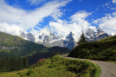 The famous mountains Eiger, Mönch and Jungfrau in Switzerland Stock Image