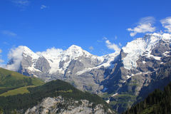 The famous mountains Eiger, Moench and Jungfrau in Switzerland. The tree famous mountains of Berner Oberland, Switzerland. The Eiger, Moench and Jungfrau royalty free stock photography