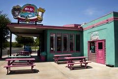Famous Mr. D'z Route 66 Diner in Kingman Arizona. KINGMAN, AZ/USA - MAY 17: Sign for Mr. D'z Route 66 Diner in Kingman Arizona on May 17, 2014 in Kimgmanman Royalty Free Stock Photos