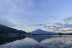 The famous Mt. Fuji at Kawaguchi, Japan. Around morning time stock photo