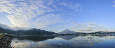 The famous Mt. Fuji at Kawaguchi, Japan. Around morning time royalty free stock photos
