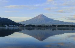 The famous Mt. Fuji at Kawaguchi, Japan. Around morning time stock photos