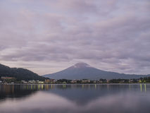 The famous Mt. Fuji at Kawaguchi, Japan. Around morning time royalty free stock image