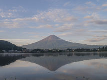 The famous Mt. Fuji at Kawaguchi, Japan. Around morning time royalty free stock photo