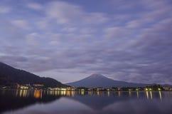 The famous Mt. Fuji at Kawaguchi, Japan. Around morning time stock images