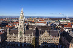Famous munich marienplatz with town Royalty Free Stock Images