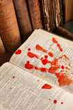 Famous murderer 4. Shakespeare's Macbeth with old books and a blood hand Stock Photos