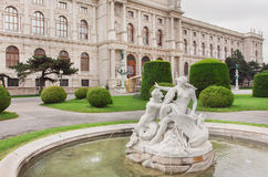 Famous Museum of Natural History in Vienna and green park with historical fountains, Austria Stock Photos