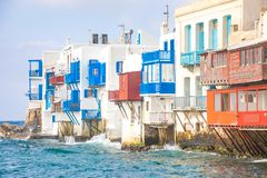 Famous Mykonos town colorfull little venice, Mykonos island, Cyclades, Greece royalty free stock images