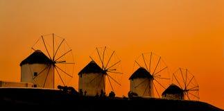 Famous Mykonos town windmills in a sunset, Mykonos island, Greece stock photos