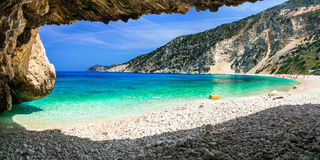 Famous Myrtos beach in Cefalonia island, view from the cave. Gre Royalty Free Stock Images
