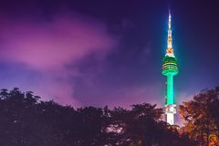 Famous Namsan tower at night - Seoul, South Korea Royalty Free Stock Image