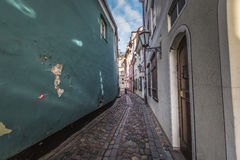 Famous narrow medieval architecture building street in old town Stock Images