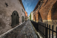 Famous narrow medieval architecture building street in old town Royalty Free Stock Image