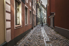 Famous narrow medieval architecture building street in old town Royalty Free Stock Images