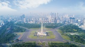 Famous National Monument in the downtown. Jakarta, Indonesia. February 22, 2018: famous building of National Monument in the downtown Stock Photo