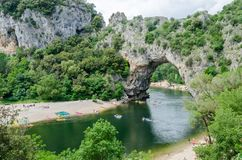 The famous Pont d`Arc in France. The famous natural bridge of Pont d`Arc in Ardeche department in France stock images