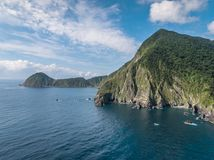 Wushihbi Coast Landscape Aerial View - Birds eye view use the drone in morning bright sunlight. royalty free stock image