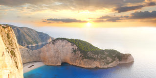 Famous Navagio Beach, Zakynthos, Greece Royalty Free Stock Photo