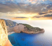 Famous Navagio Beach, Zakynthos, Greece Stock Photography