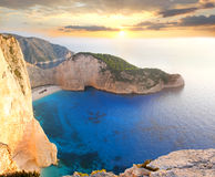 Famous Navagio Beach, Zakynthos, Greece Royalty Free Stock Photography