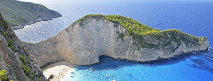 Famous Navagio Beach, Zakynthos, Greece Royalty Free Stock Images