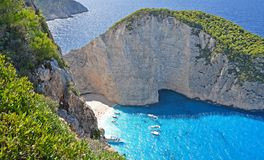 Famous Navagio Beach, Zakynthos, Greece Stock Image