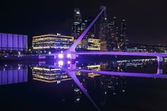 The famous neighborhood of Puerto Madero in Buenos Aires, Argentina at night. royalty free stock image