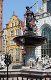 Famous Neptune fountain at Dlugi Targ square. Stock Images