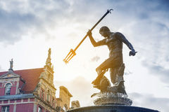 Famous Neptune fountain in Gdansk. Famous Neptune fountain, symbol of Gdansk, Poland Royalty Free Stock Image