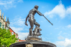 Famous Neptune fountain in Gdansk Royalty Free Stock Photos
