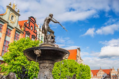 Famous Neptune fountain in Gdansk Stock Photo