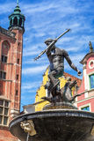 Famous Neptune fountain, the symbol of Gdansk Stock Photo