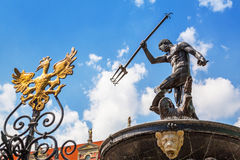 Famous Neptune fountain, the symbol of Gdansk Stock Image