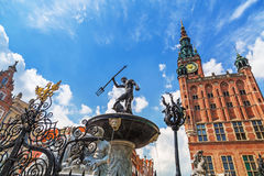 Famous Neptune fountain, the symbol of Gdansk Royalty Free Stock Images