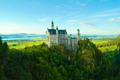 Famous Neuschwanstein castle in Fussen, Bavarian Alps, Germany Royalty Free Stock Image