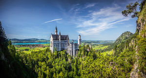 Famous Neuschwanstein castle in Germany, Bavaria, built by King Ludwig II in 19th-century Stock Photo