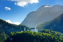 Famous Neuschwanstein Castle, 19th-century Romanesque Revival palace on a rugged hill above the village of Hohenschwangau in south stock photos