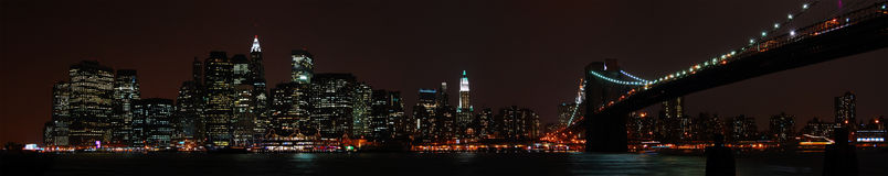 Famous New York skyline at night. A panoramic view of the financial district skyline of New York City, photographed from the Brooklyn side of the East River Royalty Free Stock Image